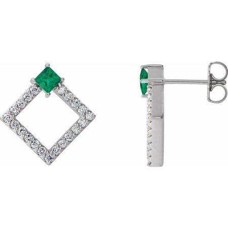 Genuine Emerald Earrings in Sterling Silver Emerald & 1/3 Carat Diamond Earrings