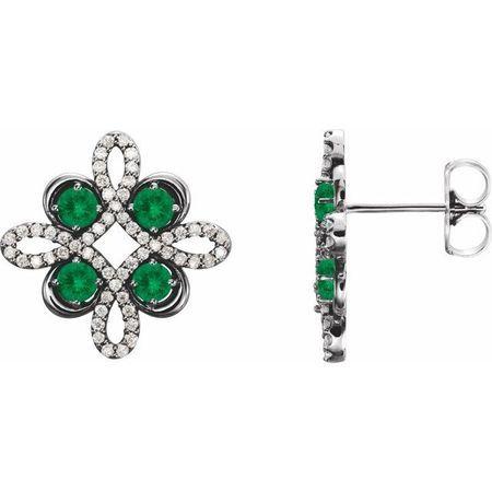 Genuine Emerald Earrings in Sterling Silver Emerald & 1/4 Carat Diamond Earrings