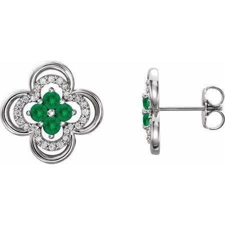 Genuine Emerald Earrings in Sterling Silver Emerald & 1/5 Carat Diamond Clover Earrings