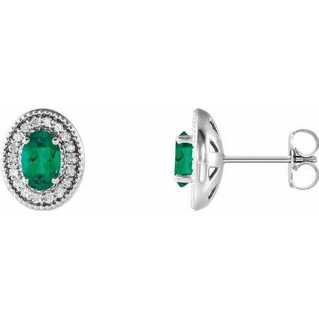 Genuine Emerald Earrings in Sterling Silver Emerald & 1/5 Carat Diamond Halo-Style Earrings