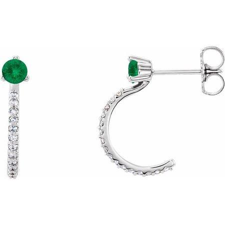 Genuine Emerald Earrings in Sterling Silver Emerald & 1/6 Carat Diamond Hoop Earrings