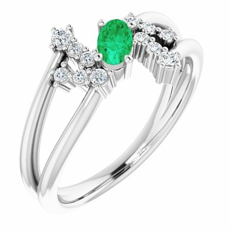Emerald Ring in Sterling Silver Emerald & 1/8 Carat Diamond Bypass Ring