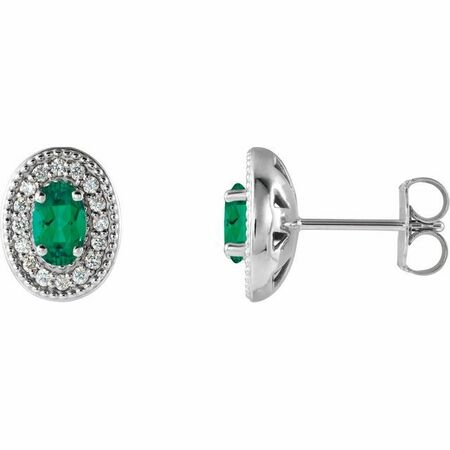 Genuine Emerald Earrings in Sterling Silver Emerald & 1/8 Carat Diamond Halo-Style Earrings