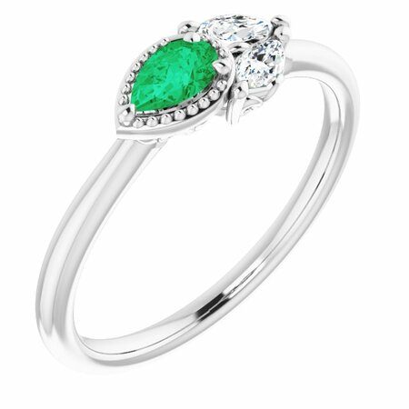 Emerald Ring in Sterling Silver Emerald & 1/8 Carat Diamond Ring