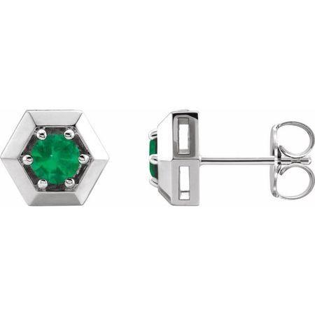 Genuine Emerald Earrings in Sterling Silver Emerald Geometric Earrings