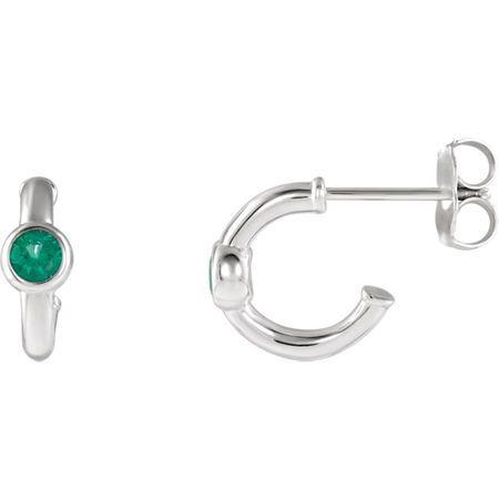 Buy Sterling Silver Emerald J-Hoop Earrings