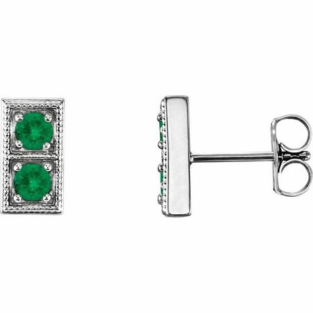 Genuine Emerald Earrings in Sterling Silver EmeraldTwo-Stone Earrings