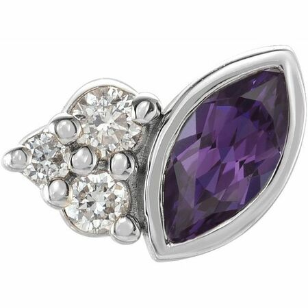 Sterling Silver Grown Alexandrite & .03 Carat Weight Diamond Right Earring
