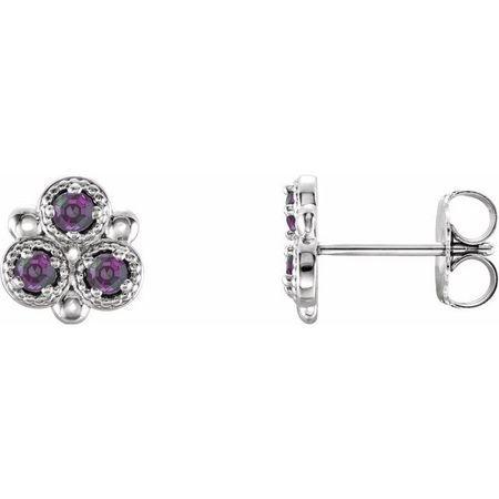 Sterling Silver Grown Alexandrite Three-Stone Earrings