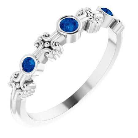 Sterling Silver Grown Blue Sapphire Bezel-Set Ring