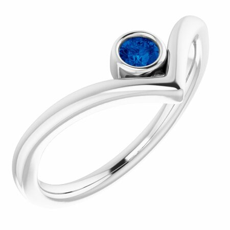 Sterling Silver Grown Blue Sapphire Solitaire Bezel-Set