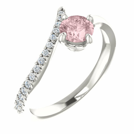Buy Sterling Silver Morganite & 0.10 Carat Diamond Bypass Ring