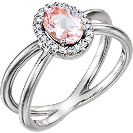 Sterling Silver Morganite & .08 Carat Diamond Ring
