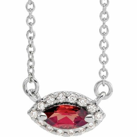 Red Garnet Necklace in Sterling Silver Mozambique Garnet & .05 Carat Diamond Halo-Style 16