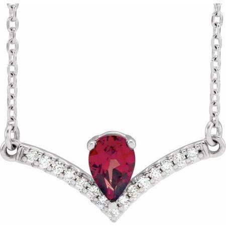 Red Garnet Necklace in Sterling Silver Mozambique Garnet & .06 Carat Diamond 16