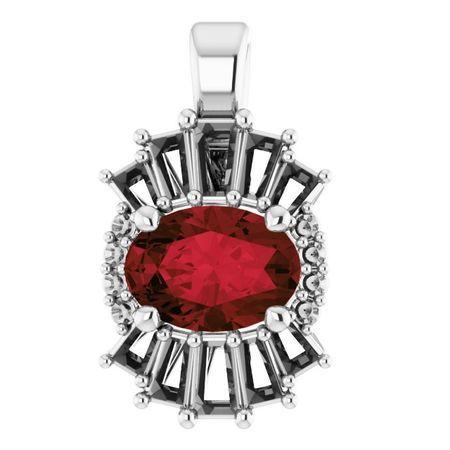 Red Garnet Pendant in Sterling Silver Mozambique Garnet & 1/3 Carat Diamond Pendant