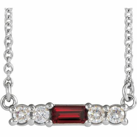 Red Garnet Necklace in Sterling Silver Mozambique Garnet & 1/5 Carat Diamond 18