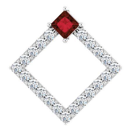 Red Garnet Pendant in Sterling Silver Mozambique Garnet & 3/8 Carat Diamond Pendant