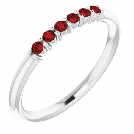 Sterling Silver Mozambique Garnet Stackable Ring