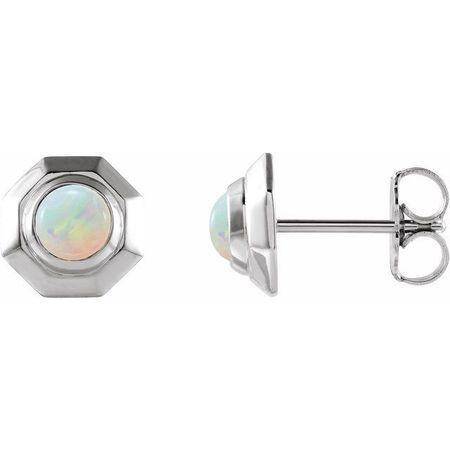 Sterling Silver Opal Geometric Earrings