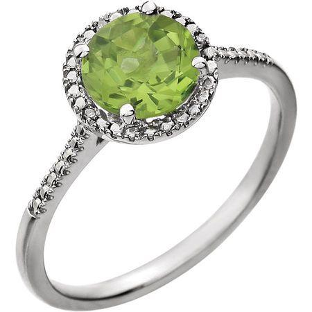 Best Sterling Silver Round Genuine Peridot & .01 Carat Diamond Ring
