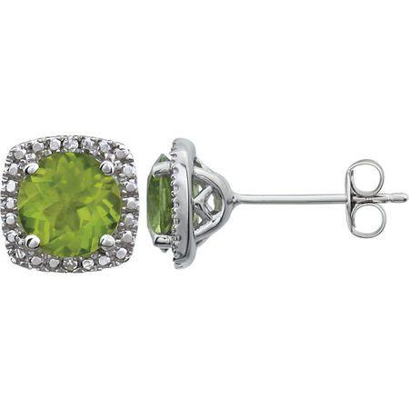 Sterling Silver Peridot & .015 Carat Weight Diamond Earrings