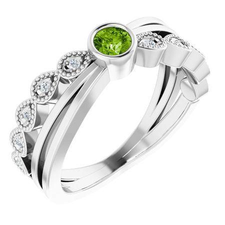 Natural Peridot Ring in Sterling Silver Peridot & .05 Carat Diamond Ring
