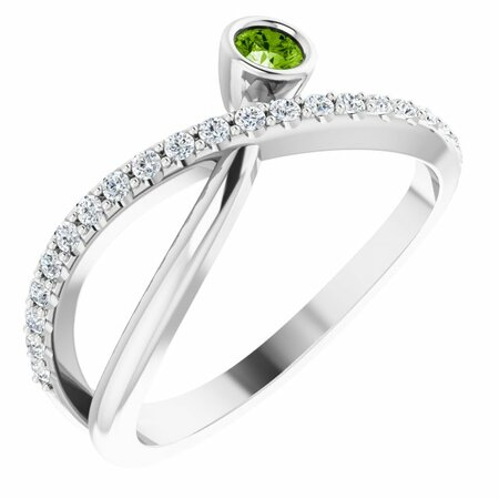 Natural Peridot Ring in Sterling Silver Peridot & 1/5 Carat Diamond Ring