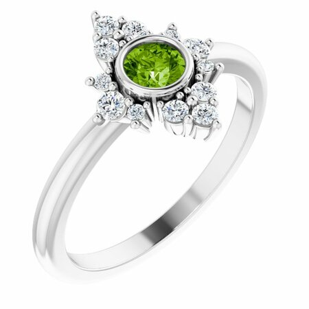 Natural Peridot Ring in Sterling Silver Peridot & 1/5 Carat Diamond Ring