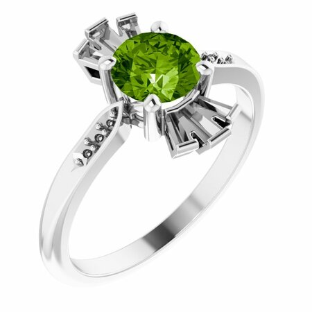 Peridot Ring in Sterling Silver Peridot & 1/6 Carat Diamond Ring
