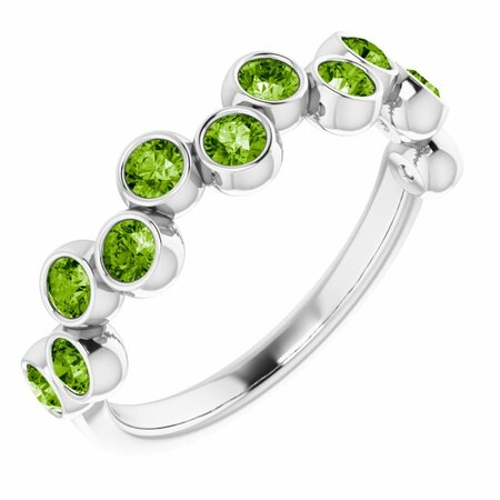 Natural Peridot Ring in Sterling Silver Peridot Bezel-Set Ring