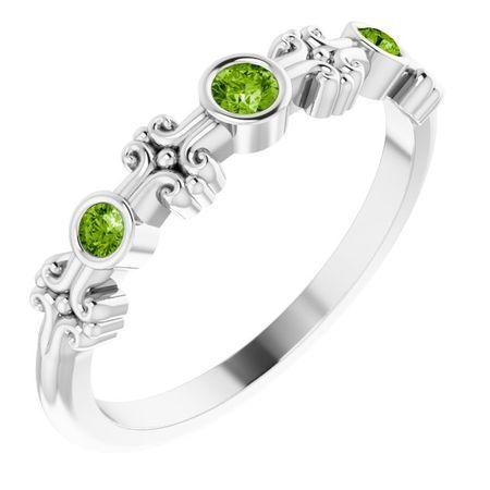 Sterling Silver Peridot Bezel-Set Ring