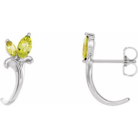 Sterling Silver Peridot Floral-Inspired J-Hoop Earrings
