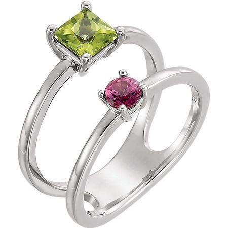 Sterling Silver Peridot & Pink Tourmaline Two-Stone Ring