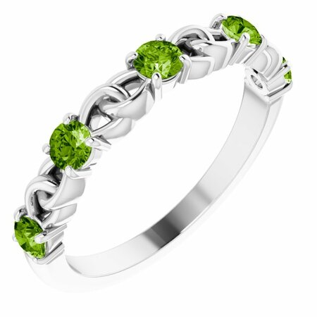 Sterling Silver Peridot Stackable Link Ring