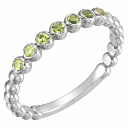 Natural Peridot Ring in Sterling Silver Peridot Stackable Ring