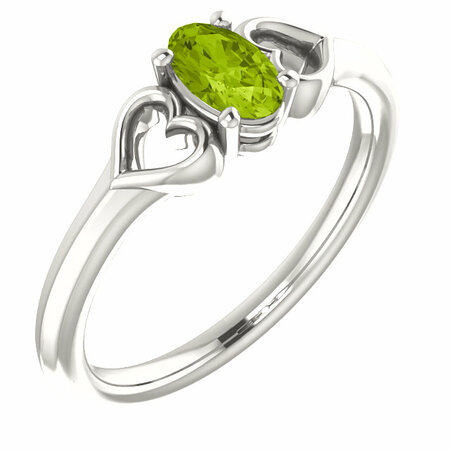 Sterling Silver Peridot Youth Heart Ring