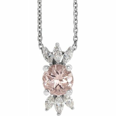 Pink Morganite Necklace in Sterling Silver Pink Morganite & 1/4 Carat Diamond 16-18