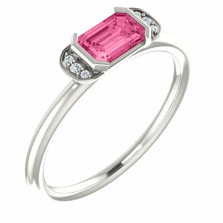 Sterling Silver  Pink Tourmaline & .02 Carat Diamond Stackable Ring