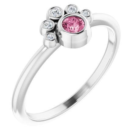 Pink Tourmaline Ring in Sterling Silver Pink Tourmaline & .04 Carat Diamond Ring
