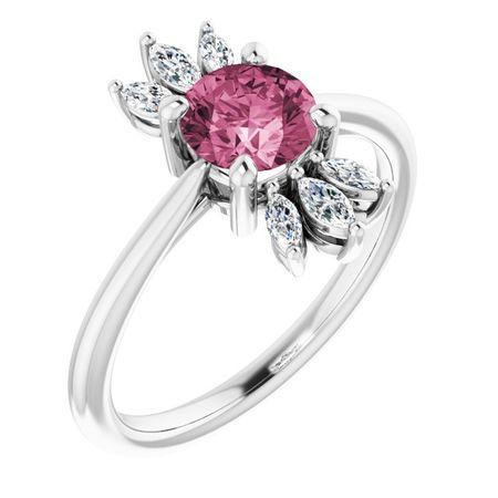 Pink Tourmaline Ring in Sterling Silver Pink Tourmaline & 1/4 Carat Diamond Ring
