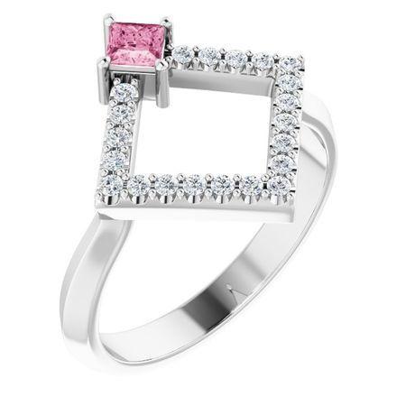 Pink Tourmaline Ring in Sterling Silver Pink Tourmaline & 1/5 Carat Diamond Geometric Ring