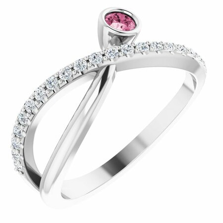 Pink Tourmaline Ring in Sterling Silver Pink Tourmaline & 1/5 Carat Diamond Ring