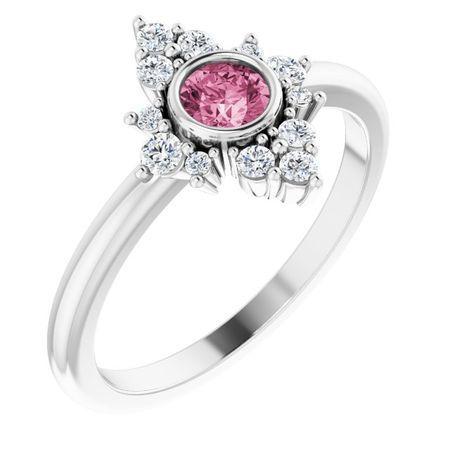 Pink Tourmaline Ring in Sterling Silver Pink Tourmaline & 1/5 Carat Diamond Ring