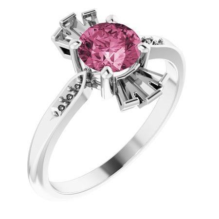 Pink Tourmaline Ring in Sterling Silver Pink Tourmaline & 1/6 Carat Diamond Ring