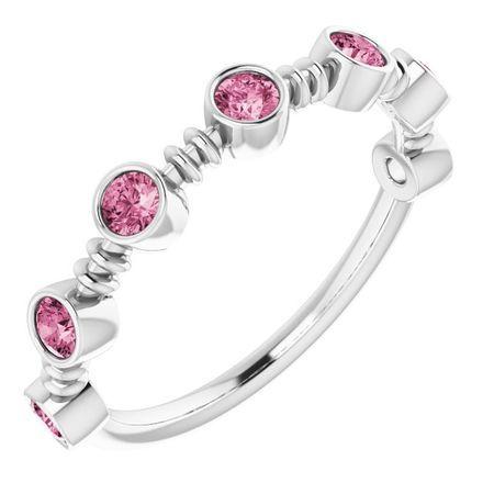 Pink Tourmaline Ring in Sterling Silver Pink Tourmaline Bezel-Set Ring