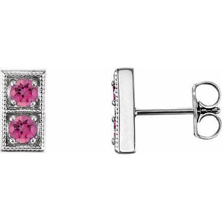 Pink Tourmaline Earrings in Sterling Silver Pink TourmalineTwo-Stone Earrings