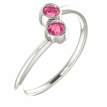 Buy Sterling Silver Pink Tourmaline Two-Stone Ring