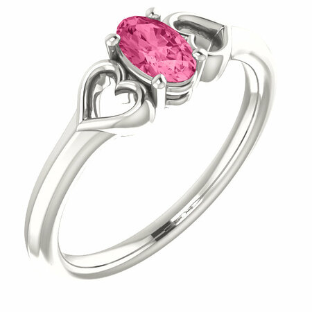 Sterling Silver Pink Tourmaline Youth Heart Ring