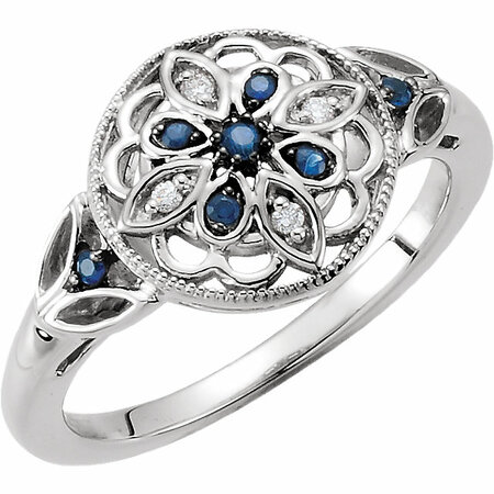 Sterling Silver Sapphire & .03 Carat Weight Diamond Ring Size 8